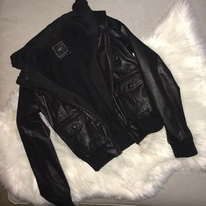 OBEY Faux Leather Double-Zip JACKET